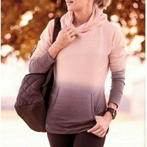 Calia Pink Gray Ombre Funnel Neck Hoodie Sweater